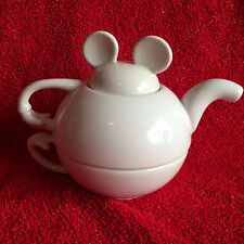 Disney MICKEY MOUSE EARS White Teapot Cup Stacked 3 pc Tea Set No Saucer