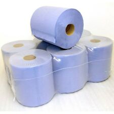 PACK OF 6 EXPERT BLUE CENTRE FEED ROLL PAPER TISSUE TOWEL 350 SHEETS 175MM