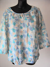 Esprit ~ sheer blue floral summer long sleeved top ~ size 14