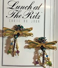 VINTAGE LUNCH AT THE RITZ DAMSELFLY Dragonfly CLIP ON EARRINGS Couture Jewelry