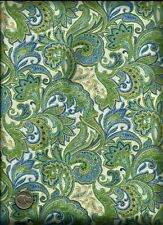 Feathery Paisley Floral Print green blue yellow on cream Fabric by David Textile
