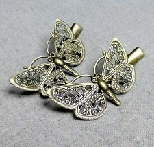 Vintage Antique Bronze Hair Clip with butterfly - 4 pcs