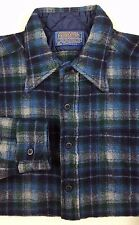PENDLETON Shirt LARGE Blue CHECKED Wool VINTAGE Mens BUTTON Front SIZE Man VTG**