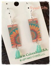 Orange Sunflower EARRINGS by Lemon Tree STERLING Silver Dangle - Gift Boxed
