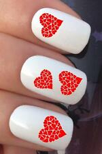VALENTINES DAY NAIL ART #04 x16 RED LOVE HEARTS WATER TRANSFERS DECALS STICKERS