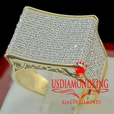 NEW 10K YELLOW GOLD .75 CTW MENS REAL DIAMOND ENGAGEMENT WEDDING PINKY RING BAND