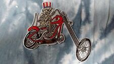Grateful Dead X Wes Lang Skeleton Motorcycle 5 x 4.5 Inch Iron On Patch