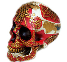 "Celtic Lion Skull Bank Hand Painted Red Tattoo Skull 7""H"
