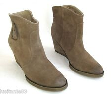 BOCAGE - BOTTINES COMPENSEES TOUT CUIR DAIM MARRON 39 - EXCELLENT ETAT