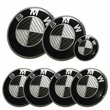 7x BMW emblem SET Carbon Fiber Black/White Emblem Logo For-BMW e60 e90 e46 f10