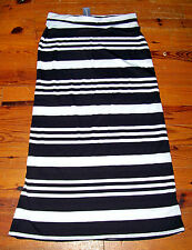 New! Women's Juniors AMBIANCE APPAREL Black White Stripe Full Length Skirt Large