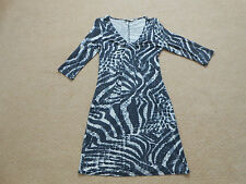 Ladies Snakeskin Black/Grey Patterned Petite Dress Size 10