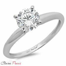 2.10 CT Round Simulated Diamond Prong Set Engagement Wedding Ring 14k White Gold