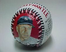 Hand Painted Baseball Mickey Mantle Yankees Topps Bowman Signed Painting PSA