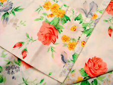 Lovely Vintage MARTEX Queen Size Flat Sheet ~ Pink Roses ~ Iris ~ 100% Cotton