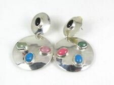 SALE! Earrings Vintage Sterling Silver Multi Gem Taxco Mexico Dangles 19g 2""