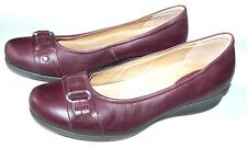 ECCO Size 41/10-10.5 Womens Low Wedge Heel Slip On Shoes Leather, Burgundy/Plum