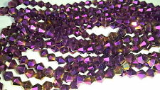 Joblot of 10 string Purple colour AB 6mm bicone shape Crystal beads  wholesale