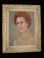 "VTG OIL painting MID CENTURY woman PORTRAIT red head  SIGNED 12"" X 16"" BLUE EYES"