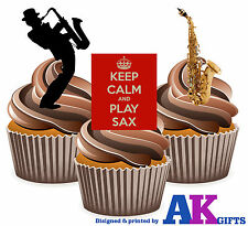 Keep Calm Sax Saxophone Mix 12 Edible Stand Up Cup Cake Toppers Decorations
