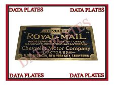 Brand New Data Plate Acid Etched Chevrolet Royal Mail Large Brass 1915 - 1916