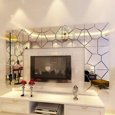 7pcs 3D Acrylic Removable Modern Mirror Decal Art Mural Wall Sticker Home Decor