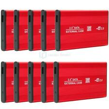 Lot10 PCS USB 2.0 SATA 2.5 HDD Hard Drive External Enclosure Case Red