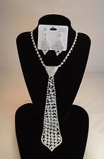 Crystal Rhinestone Neck Tie Necklace & Earrings Bridal~Costume Jewelry~BLING
