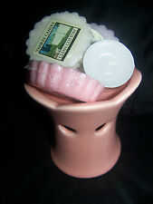 YANKEE CANDLE PINK CERAMIC TART BURNER 3 ASSORTED TARTS & TEALIGHT NEW