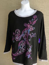 NWT Just  My Size L/S Scoop Neck Glitzy Graphic Twofer Tee Top Black Multi 3X
