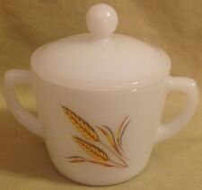 FIRE KING BY ANCHOR HOCKING WHEAT PATTERN COVERED SUGAR BOWL EXCELLENT CONDITION