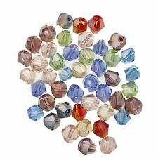 100 PCS TINY FACETED CRYSTAL GLASS BICONE BEADS  4MM COLOUR CHOICE
