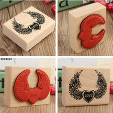 1 Pcs DIY Wooden Vintage Love + Wing Pattern Retro Rubber Stamp Diary Wedding