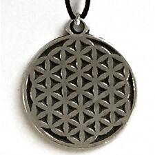 Ciondolo fiore della vita in metallo con cordoncino made in italy