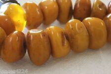 HUGE BOLD VINTAGE 21 TIBETAN BUTTERSCOTCH RESIN FAUX AMBER BEAD NECKLACE