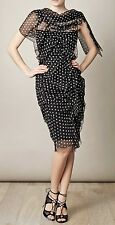 NINA RICCI COUTURE Black & White Polka Dot Silk Chiffon Dress, France 36/4 $3850