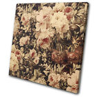 Shabby Chic Retro Flowers Floral Vintage SINGLE CANVAS WALL ART Picture Print