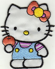 Aufnäher Bügelbild Iron on Hello Kitty Katze orange Schleife (a4o6)