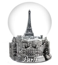 "PARIS IN SILVER -  EXCLUSIVE 100MM MUSICAL SNOW GLOBE - PLAYS ""LA VIE EN ROSE"""