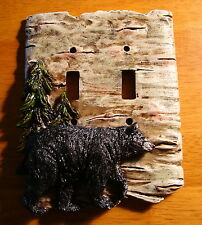 BLACK BEAR BIRCH DOUBLE TOGGLE LIGHT SWITCH WALL PLATE COVER Cabin Lodge Decor
