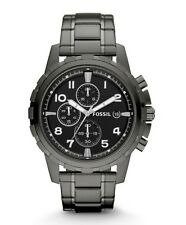 Fossil Watch * FS4721 Dean Chronograph Black Dial Smoke Stainless Steel for Men
