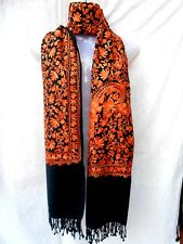 Kashmir Wool Shawl Pashmina Scarf Crewel Embroidery Indian Shawls Indian Wrap