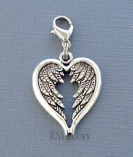 Angel Wings Clip On Charm Fits Link Chain, Dangle floating locket s153