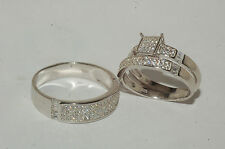 white gold finish Wedding Bands Engagement ring Man's & ladies Trio Set His/Hers
