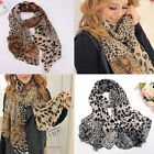 New Hot Lady's Long Soft Wrap Shawl Silk Leopard Chiffon Scarf Shawl Plush Women