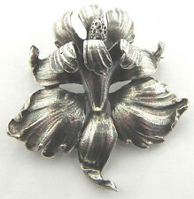 CINI SOLID STERLING SILVER IRIS FLORAL PIN BROOCH