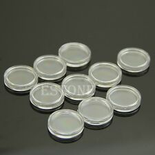 Hot 10pcs 19mm Clear Round Cases Coin Storage Capsules Holder Round Plastic