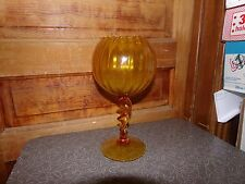 Vintage Retro Mid Century Amber Blown Glass Tall Candy Dish