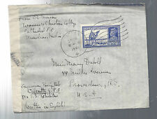 1941 India Censored AM Cover-Madras to Providence Road Island,Nice Cover VF