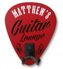 Personalized Guitar Lounge Guitar Hanger Hook Holder Sign, Wall Mounted, Studio